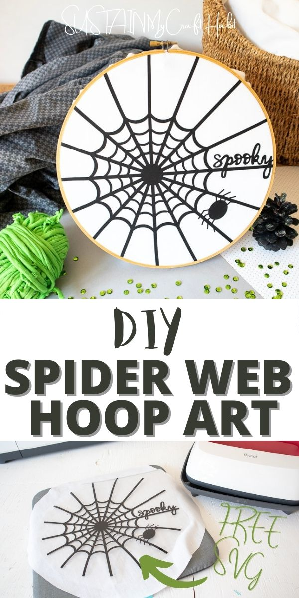 Spider web embroidery hoop art with text overlay and an in-process image showing how to iron on the spider web art.