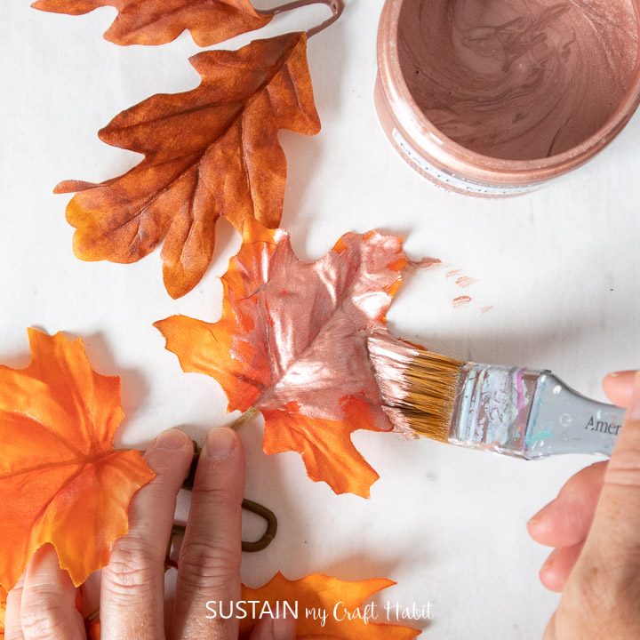 Painting a faux maple leaf with Rose Gold metallic paint.