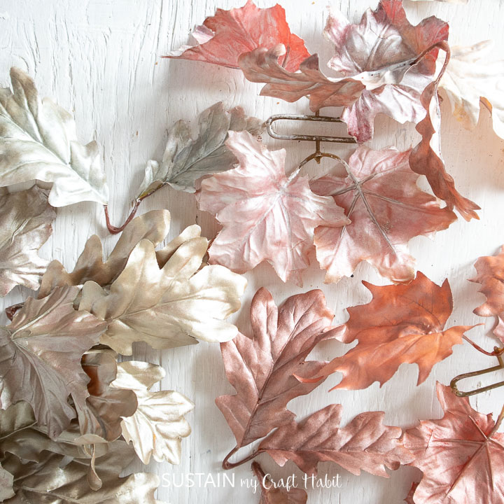 Painted faux leaves.