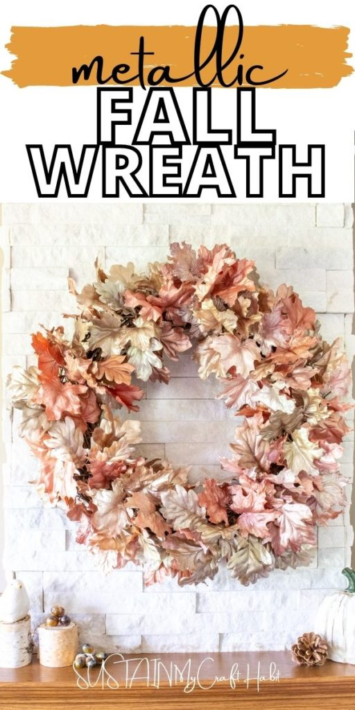 Metallic fall wreath with text overlay.