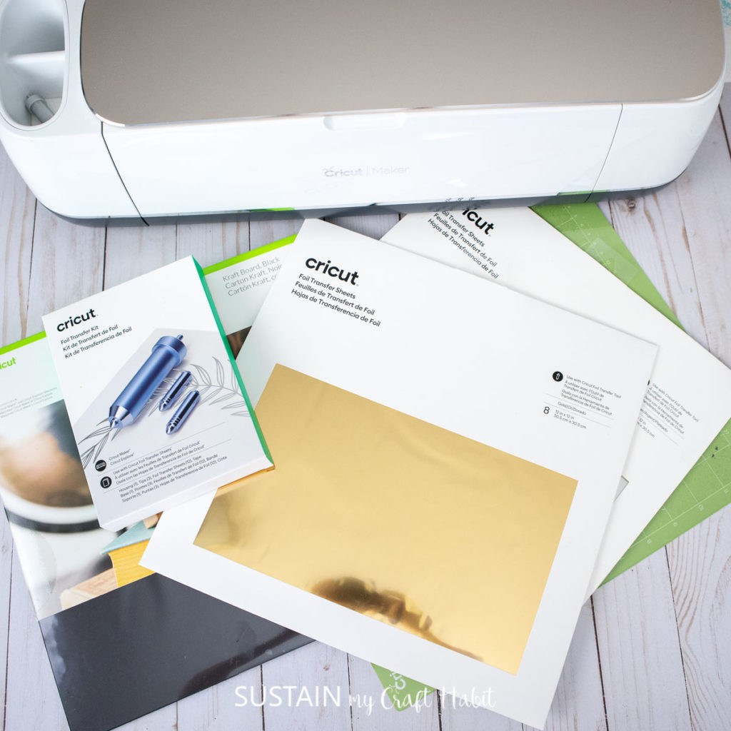 supplies for creating a piece of art using the Cricut foil transfer system
