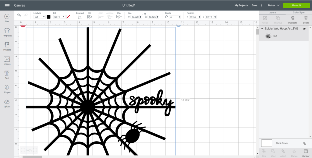 Uploading a spider SVG file onto Cricut Design Space.