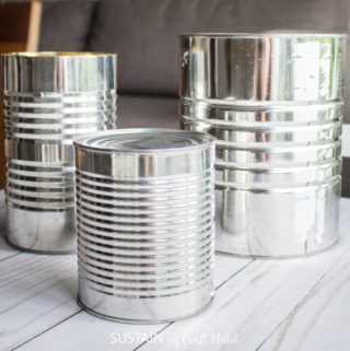 empty tin cans collected for making tin can crafts