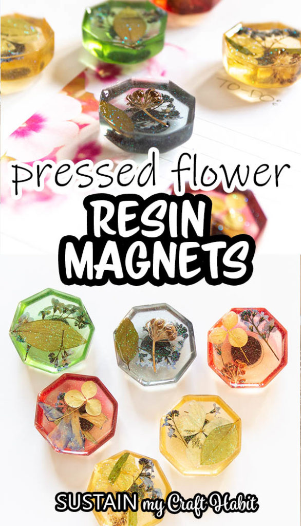 Close up of pressed flower resin magnets with text overlay.