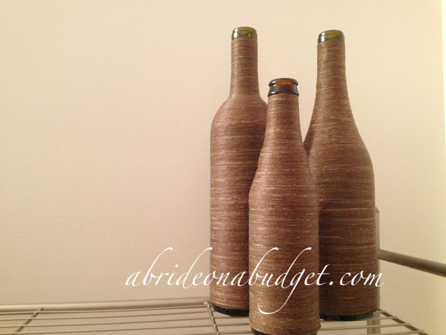 Twine wrapped wine bottles.