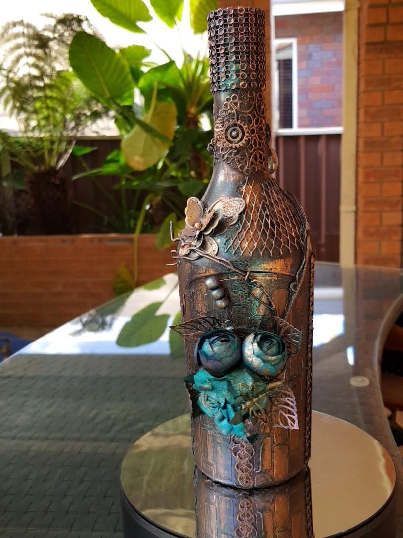 wine bottle altered decor