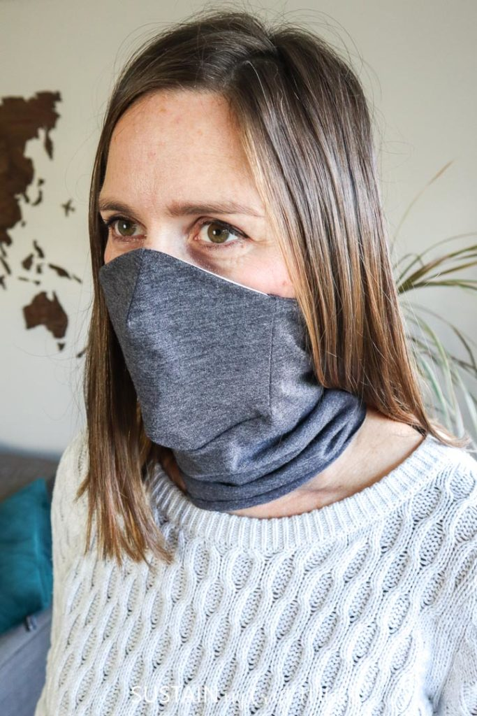 wearing a mask scarf with a built in nose and mouth panel