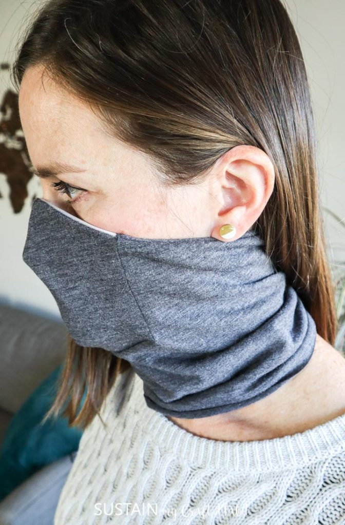 side view of mask scarf while wearing