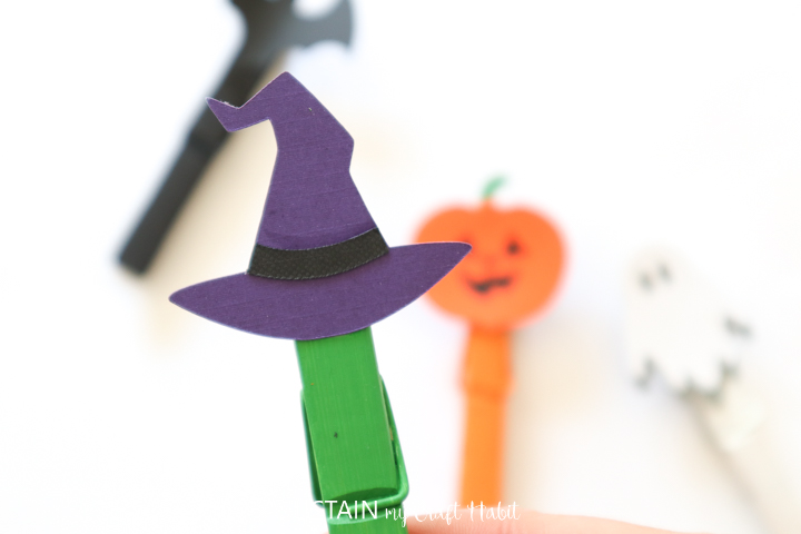 close up image of the witch's hat Halloween clothespin completed craft
