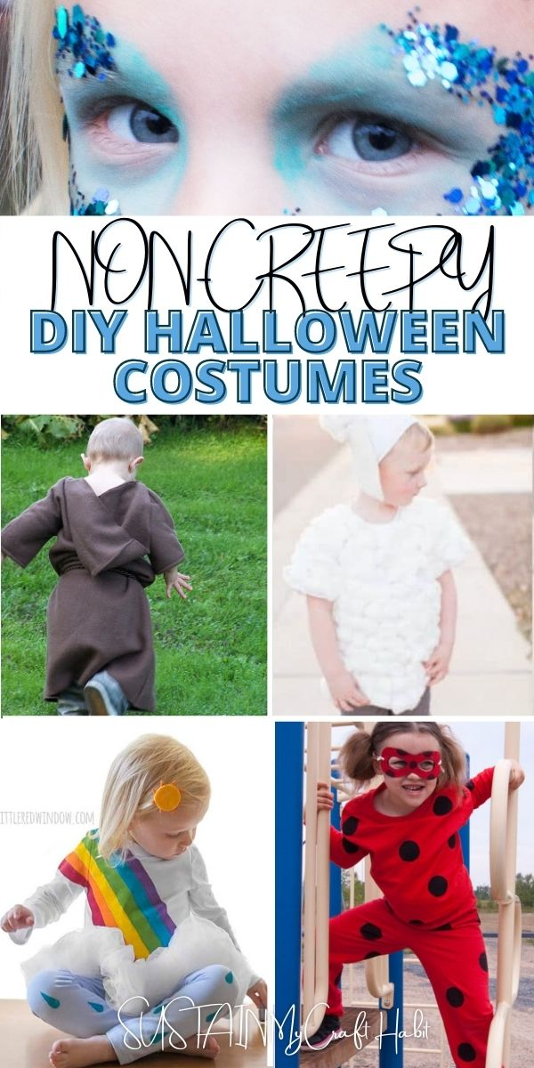 Collage of cute images with text overlay reading non-creepy DIY Halloween costumes.