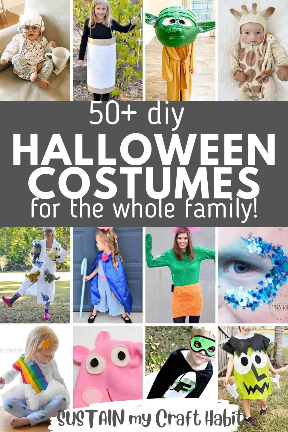Collage of images as examples of cute DIY Halloween costumes to make.