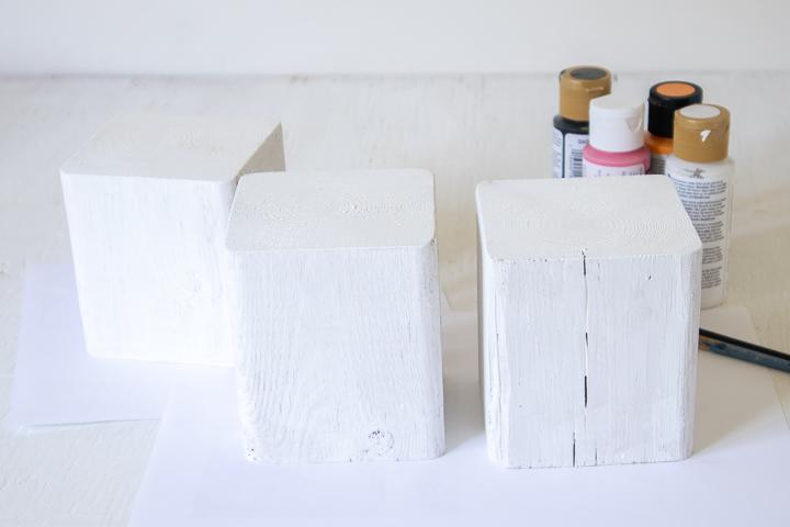 White painted wood blocks.