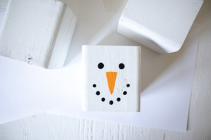 Black dots of paint to look like snowman eyes and smile.