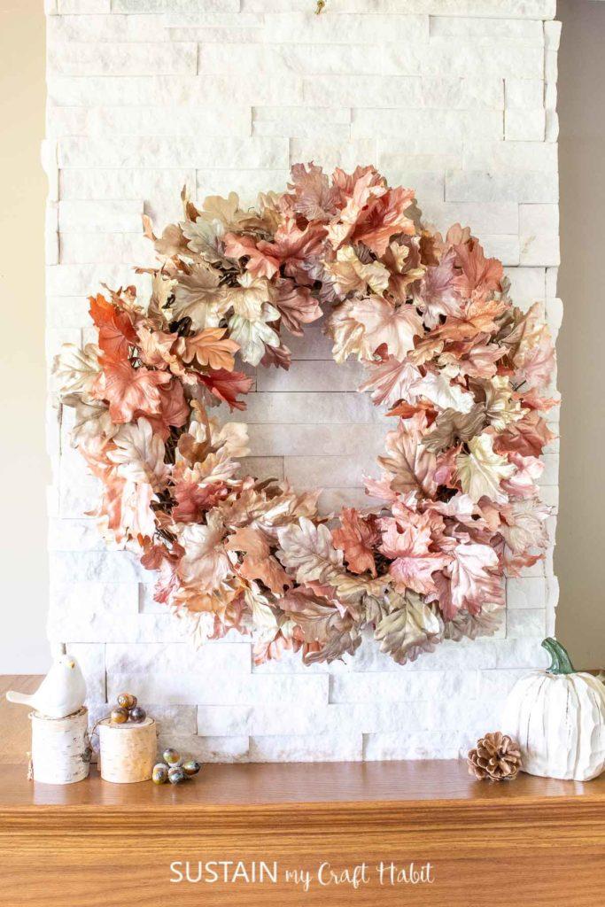 Diy Metallic Fall Leaf Wreath Sustain My Craft Habit