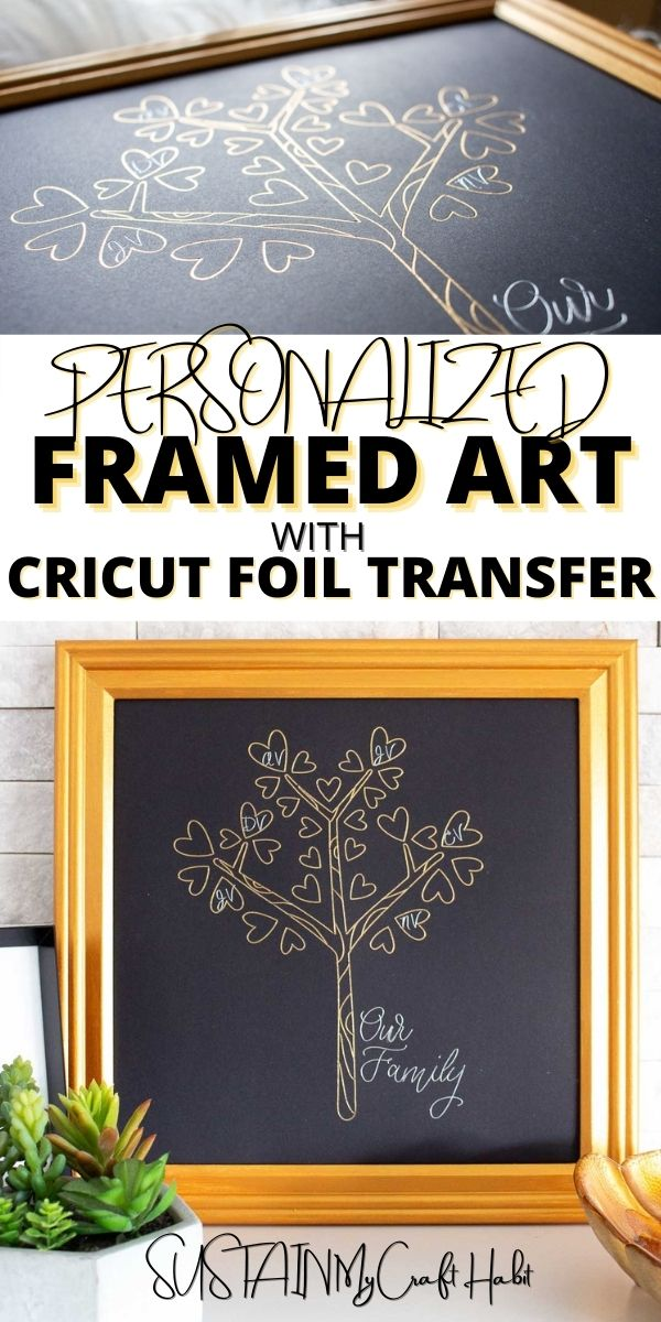 Collage of images showing personalized framed art wiht the Cricut Transfer system.
