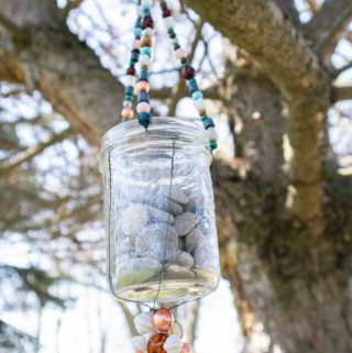 Close up of the mason jar wind chime.