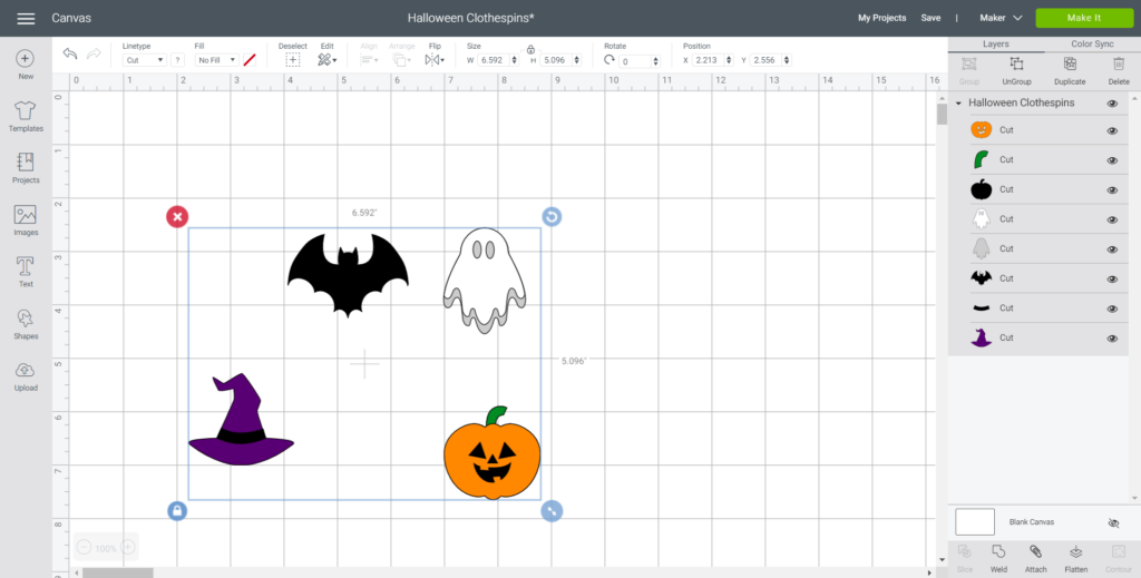 Uploading the Halloween images into Cricuts Design Space.