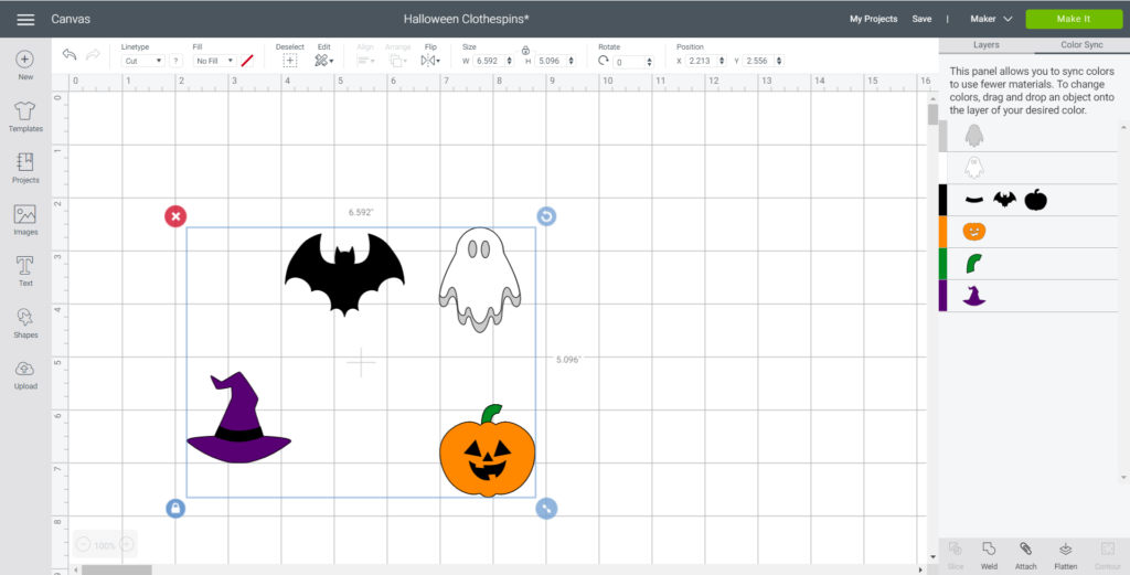 Maintaining the sizes of the Halloween Images in Cricut Design Space.