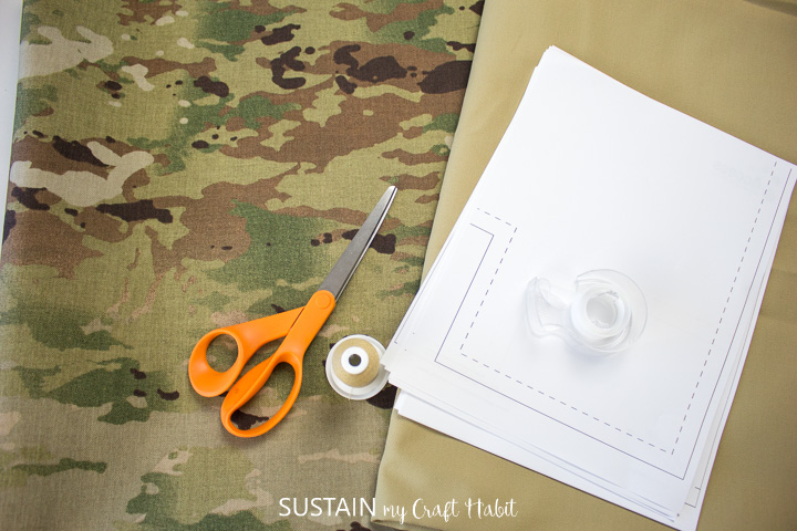 materials for making a large camo tote bag