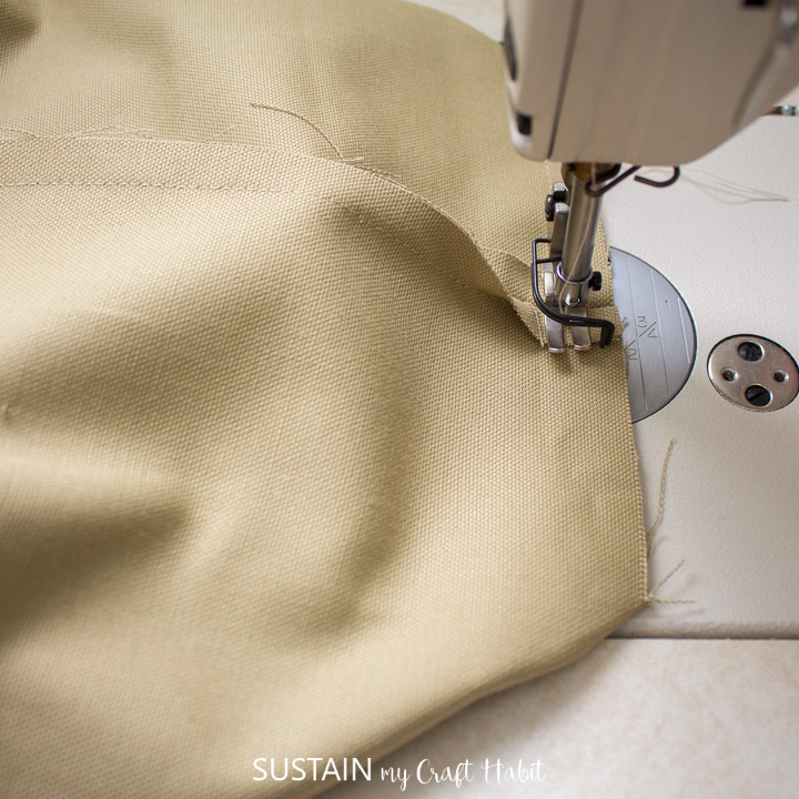 sewing the bottom of the tote bag