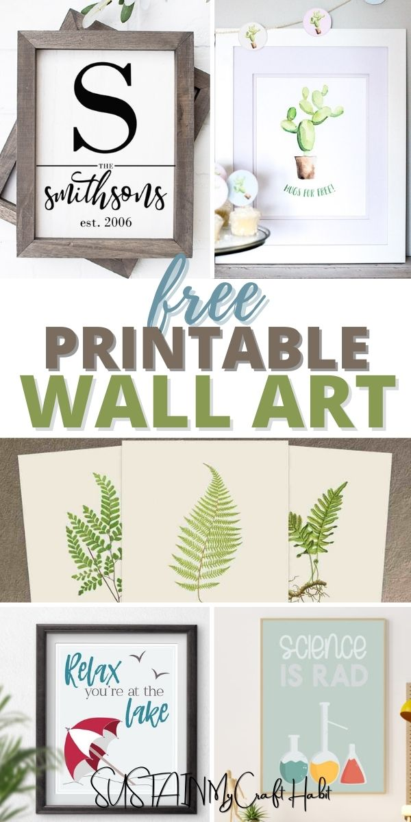 Collage of images with text overlay saying free printable wall art
