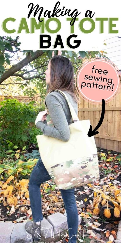 holding a large camo tote bag
