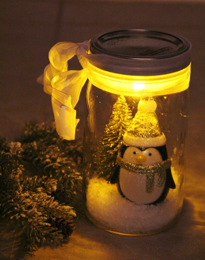 mason jar Christmas crafts snow scene.