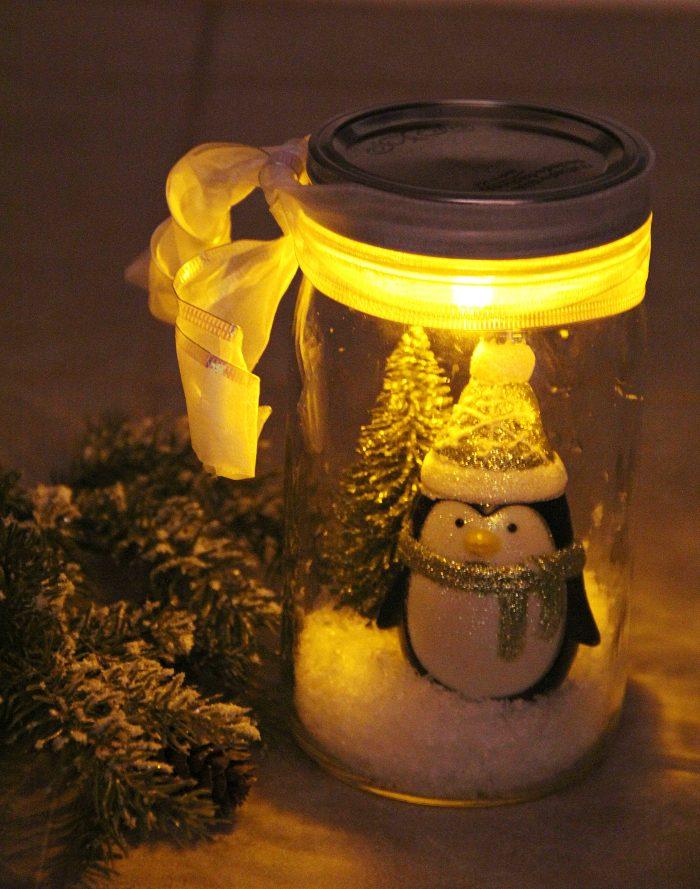 mason jar Christmas crafts snow scene.