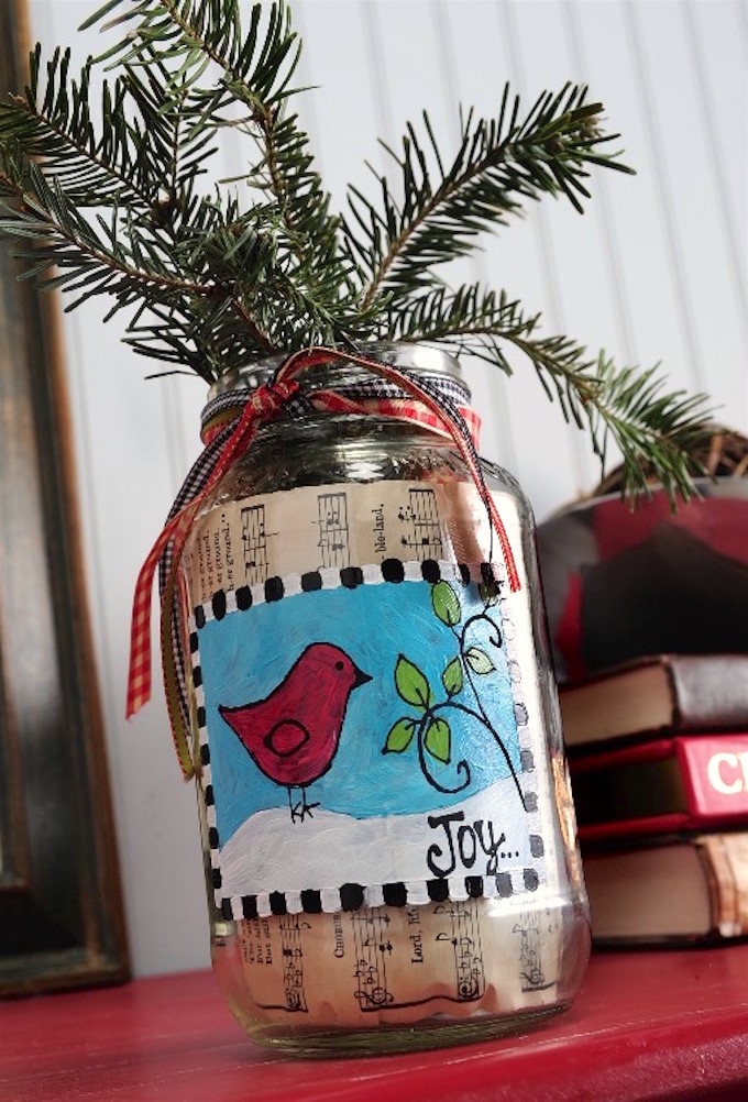 Mason jar Christmas crafts vase.