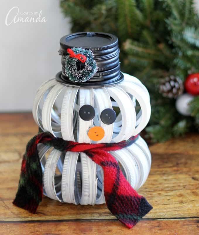 Mason jar Christmas crafts snowman lid.