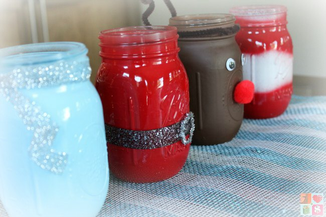 mason jar Christmas craft Santa and reindeer.