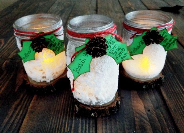 Mason jar Christmas crafts luminaries.