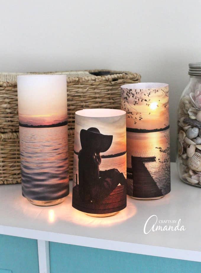 Cool paper craft photo luminaries.