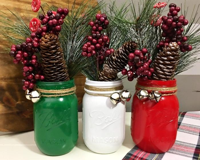 mason jar Christmas crafts centerpieces.