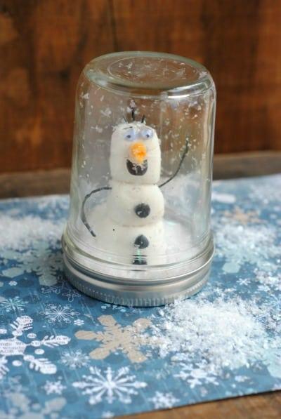 Mason jar Christmas crafts olaf snow globe.