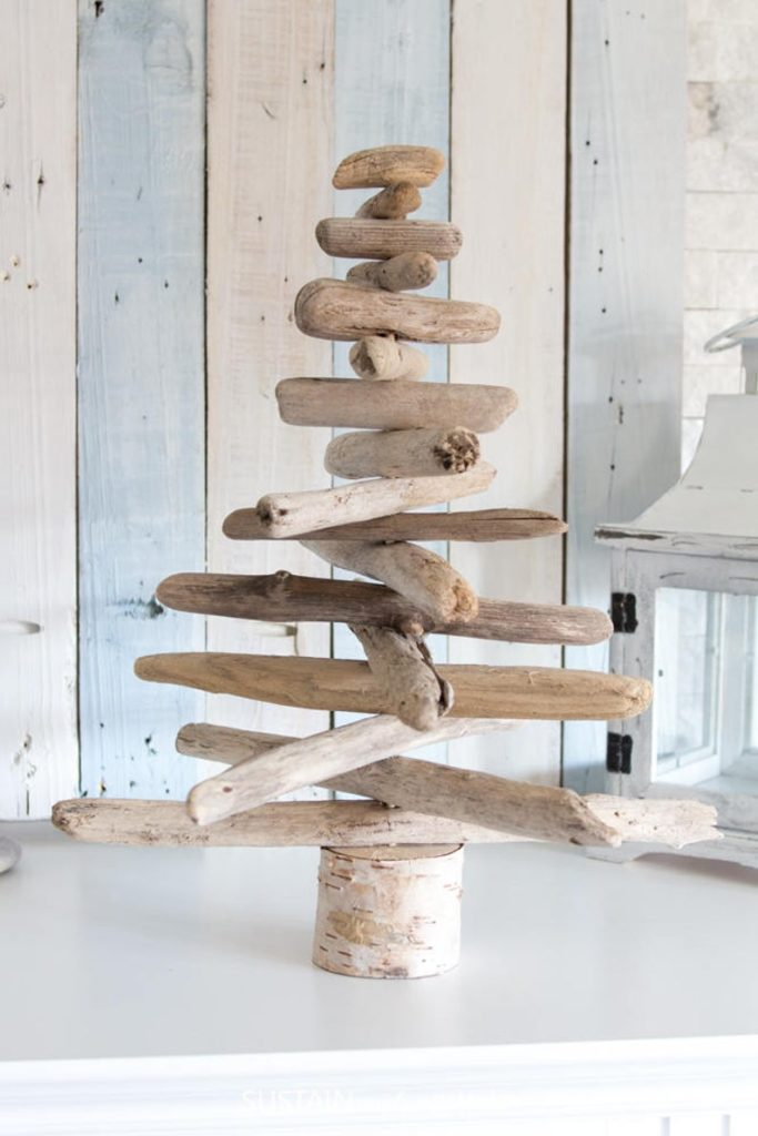 Tabletop Christmas tree made from driftwood.