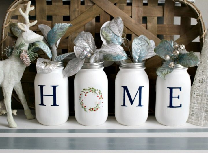 mason jar christmas craft centerpiece.