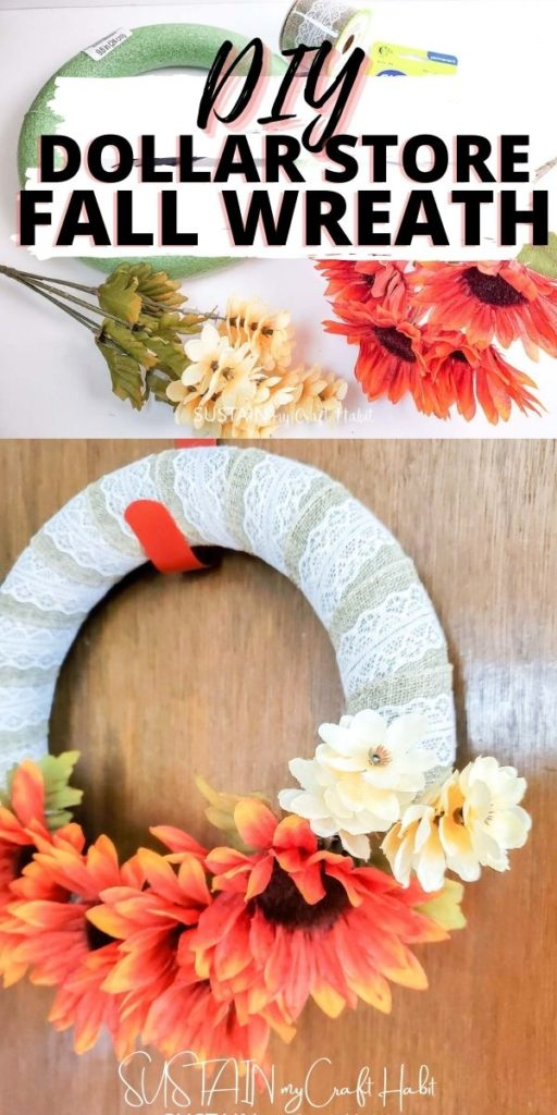 Materials and finished Dollar store fall wreath with text overlay.