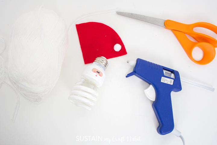 Preheating the glue gun.