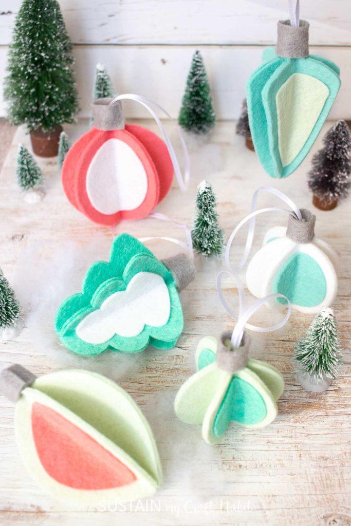 Retro inspired 3D felt Christmas ornaments.