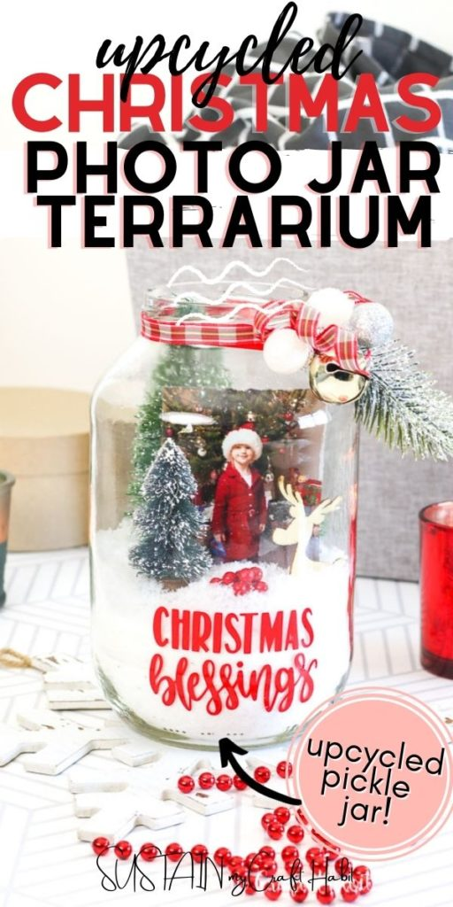 Pickle jar Christmas terrarium with text overlay