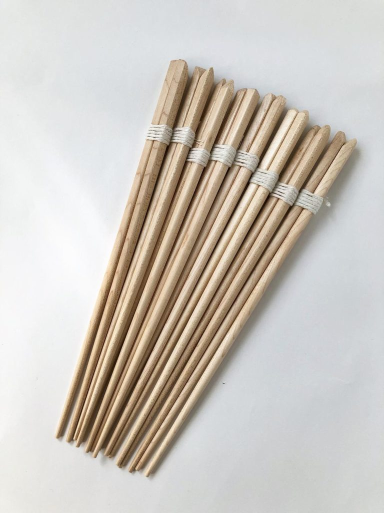 Eights pairs of chopsticks.