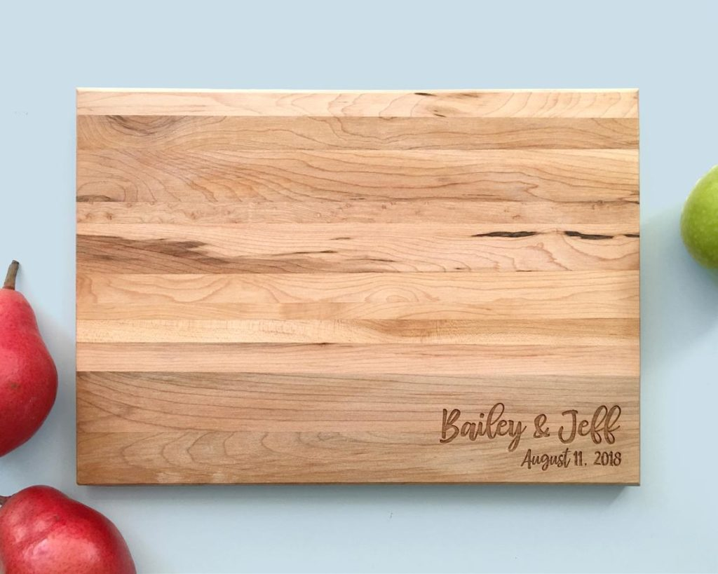 Engraved wooden cutting board.