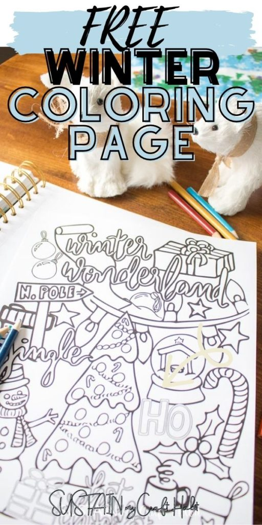 Winter coloring page with text overlay