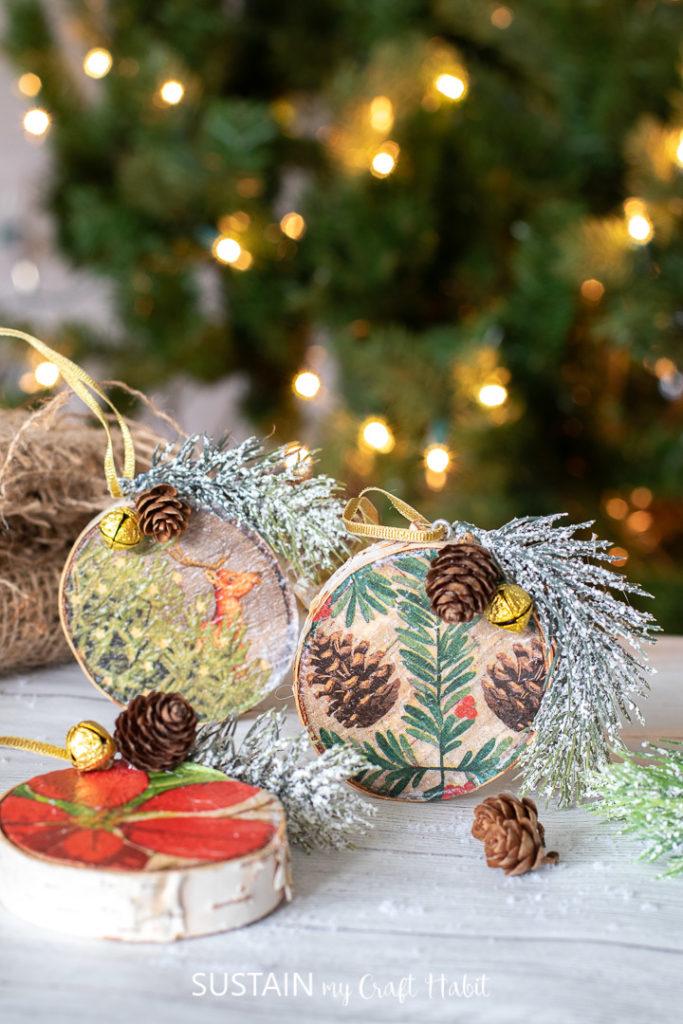 Repurposed paper napkin wood slice ornaments