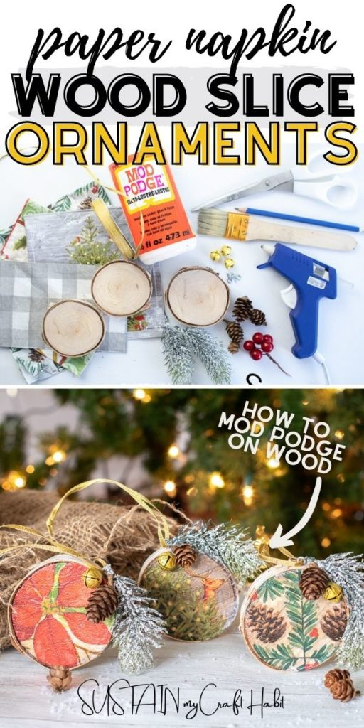 A collage of materials and finished paper napkin wood slice ornaments with text overlay.