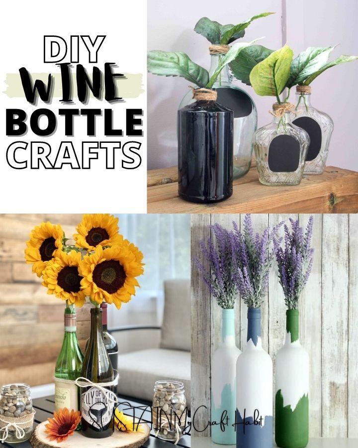 round up of diy wine bottle crafts