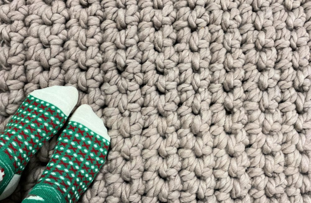 Cool craft crochet rug.