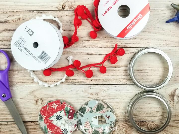 Cutting decorative ribbon.