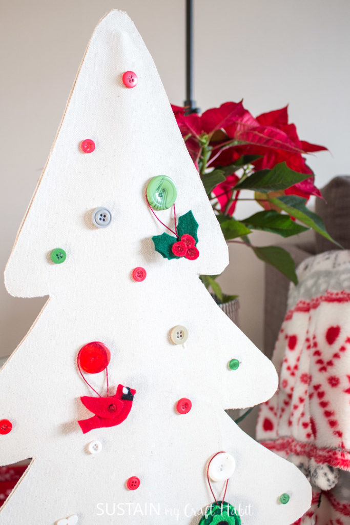 Finished no sew canvas Christmas tree decoration.